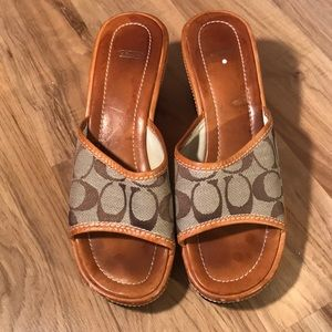 Coach leather wedge sandals size 8